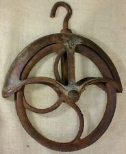 """old Well Fender Pulley 9"""" LARGE 1880's vintage rustic iron #10 Rusty Barn find"""