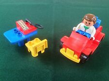 Vintage Lego Duplo Car With Desk Chair Phone & Figure Playset