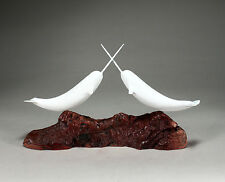 """Two Narwhals """"Jousting"""" Sculpture New direct from John Perry 14in long Decor"""