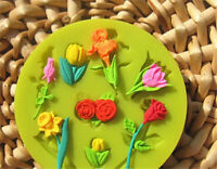 Silicone Pink Leaf Flowers Fondant Mold Sugarcraft Chocolate Mould Cake Decor G