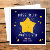 Personalised Thank You Teacher Card Nursery Nurse Male Female You're A Star Love