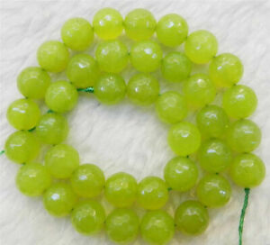 """Natural 8mm Faceted Green Peridot Round Gemstones Loose Beads 15"""" AAA"""