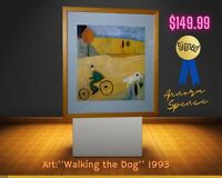 ORIGINAL Annora Spence ''Walking the Dog'',1993 Art signed by author. 13''x12''.