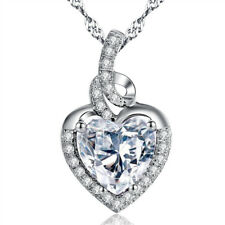 2.00 CTW Cubic Zirconia Heart Pendant Necklace Sterling Silver W/ Chain