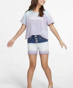 Justice Girl's Size 16 Dip Dyed Denim Shorts in Purple New with Tags