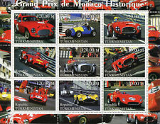 Turkmenistan 2000 MNH Grand Prix GP of Monaco F1 Formula 1 9v M/S Cars Stamps