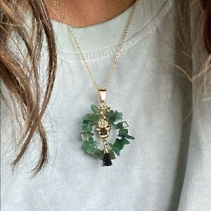 IMPERIAL JADE GOLD FILLED HAMSA DAINTY DONUT NECKLACE