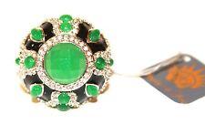 """New Angelique de Paris Cocktail Ring  Black Green SZ 6 """""""