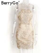BerryGo Hollow Out Lace Embroidery Bodycon Dress Party Strappy Backless Dress
