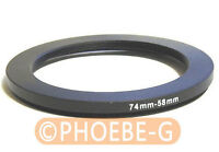 74mm to 58mm 74-58 mm Step Down Filter Ring  Adapter