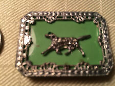 Vintage Metal & Green Plastic Pointer? Dog Pin Brooch Art Deco? p370