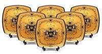 "Royalty Porcelain Yellow 10"" Dinner Plates, Medusa Greek Key 24K Gold, Set of 6"