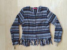 Tigerlily Women's Jacket Embroidered Black White Orange Tassles Boho Size 6 Aus