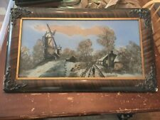 Antique A Swiss Winter Framed Reverse Painting On Glass
