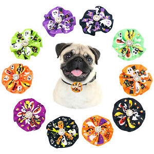 Halloween Dog Collar Charms With Rhinestone Bow Ties Cats Attachment Accessories