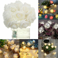 20 LED Rose Flower Garland String Light Fairy Wedding Party Christmas Decoration