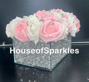 CRUSHED DIAMOND SILVER CRYSTAL RECTANGLE VASE WITH WHITE AND PINK FOAM FLOWERS