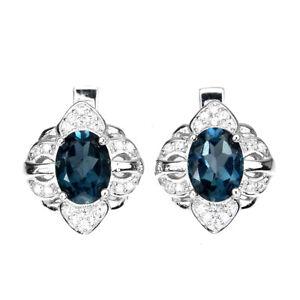 Oval London Blue Topaz 8x6mm Cz White Gold Plate 925 Sterling Silver Earrings