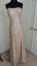 Jovani Gold Side Slit Strapless Prom Formal Dress Gown 8, Preowned, Needs Repair