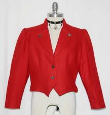 BOILED WOOL ~ RED Women German Winter Dirndl Dress Skirt Suit JACKET Eu42 10 M