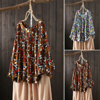Womens Retro Floral Printed Holiday Tops T-Shirt Casual Baggy Long Sleeve Blouse