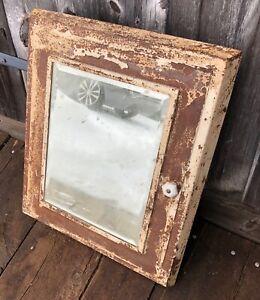 Vtg Antique Industrial Recessed Metal Medicine Cabinet Beveled Mirror Old Bath