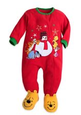 Disney Baby Red Christmas Pooh Size 3/6 Months Snowman Fleece Romper Sleeper New