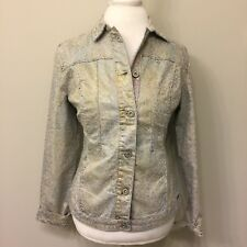 FDJ French Dressing Jeans Womens SMALL Leopard Metallic Denim Jacket D3