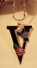 """Lovely Ebony Black Finish """"V"""" Shaped Cloisonne Butterfly Flower Pendant Necklace"""