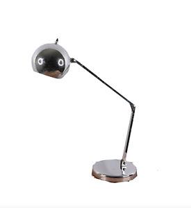 Vtg 70s Mid Century Modern MCM Sonneman Chrome Orb Adjustable Desk Table Lamp