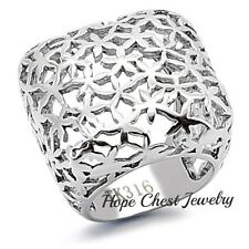 HCJ Women's Stainless Steel Square Shape Dome Style Ladies Fashion Ring SIZE 9