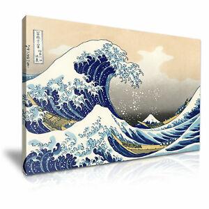 Katsushika Hokusai The Great Wave off Kanagawa Stretched Canvas ~ More Size