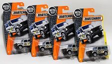 LAND ROVER 90 * LOT OF 4 * 2017 MATCHBOX * SILVER w/ BLACK & YELLOW DEFENDER