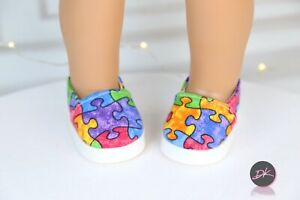 American Girl Doll PUZZLE SHOES CANVA  fit most 18 ''doll - doll shoes
