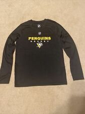 Nhl Pittsburgh Penguins Youth Long Sleeve Shirt Black Polyester Size M 10-12