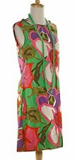 Sleeveless A-Line Dress - 60s Colorful Floral Graphic - Sz M - Hey Viv Vintage