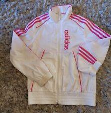 Womens Girls Vintage Adidas Tracksuit Jacket White Pink Size 32/34
