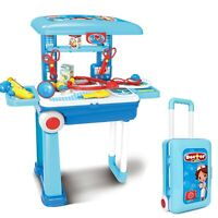Kids Toy DOCTOR TROLLEY PLAY SET Childrens Medical Nurse 13 Piece Case on Wheels