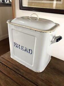 Antique Edwardian Large Stove Enamel Bread Bin , White With Blue Letters.