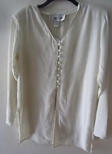Womens Tunic Corset Back White 100% Crinkle Rayon  LS Louise Paris NWT