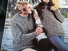 "Knitting Pattern Women Ladies Men Aran Jumper Hat and Socks Aran 34-44"" Vintage"