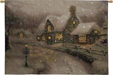 Olde Porterfield Gift Shoppe Christmas Fiber Optic Tapestry Wall Hanging Kinkade