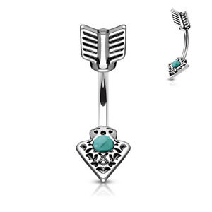 Turquoise Set Tribal Arrow 316L Surgical Steel Belly Bar / Navel Ring