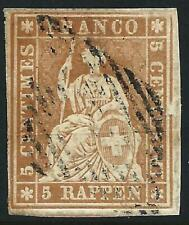 SWITZERLAND - 1855 5Rp 'YELLOW-BROWN' (Yellow Thread) SG 33 FU Cv £130 [A2773]*