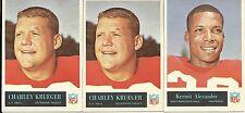 1965 FB Card Lot SF 49ers Team 3 Cards Includes Krueger & Alexander VG/EX - EX
