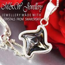 925 STERLING SILVER CHAIN NECKLACE CRYSTALS FROM SWAROVSKI® TWISTER SILVER NIGHT