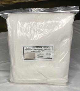 Restoration Hardware Cloud Petite Ottoman SLIPCOVER Text Linen White $1,395
