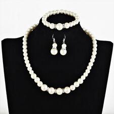 Pearl Necklace Earrings Bracelet Set Diamante Wedding Bridal x 10 JOBLOT