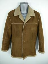 MENS NEXT BROWN BUTTON UP SINGLE BREASTED FLEECE LINED SHERPA JACKET UK S SMALL