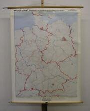 schöne alte Schulwandkarte Deutschland West+DDR vintage wall map 99x134 vor1990